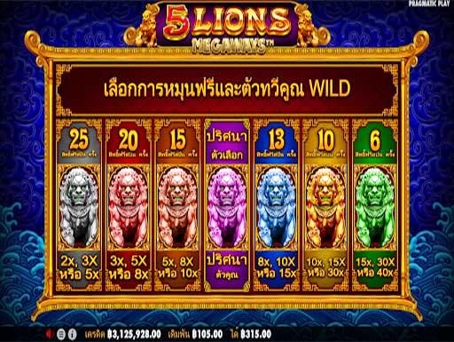 5 Lions Megaways Freespins